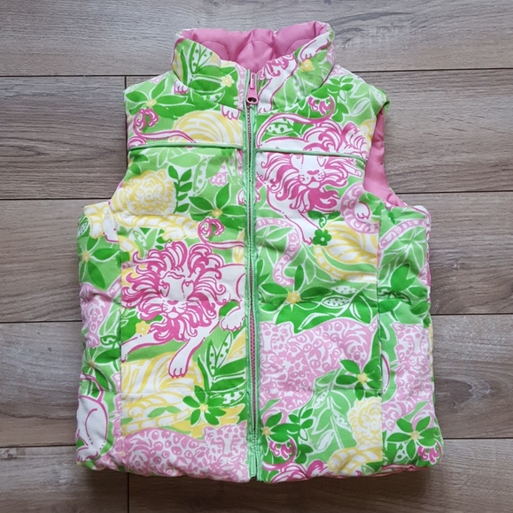 Vests Lilly Pulitzer Kids Lilly Pulitzer Reversible Pink Floral Puff Vest 6 Pink Green